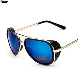 Wholesale Iron Man Sports Sunglasses - Wholesale- 2015 IRON MAN 3 Matsuda TONY Steampunk Sunglasses Men Mirrored Brand Designer Glasses Vintage Sports Sun glasses