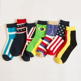 Wholesale Women Days Week - Wholesale-Women's socks spring seven days week socks British Wind flag hit color retro literary 7 days cotton socks