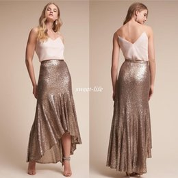 Wholesale Two Tone Sequin Dress - Cheap High Low Mermaid Sequined Country Bridesmaids Dresses V Neck Two Tone 2017 Cheap Wedding Guest Dress Tea Length Maid Of Honor Gowns