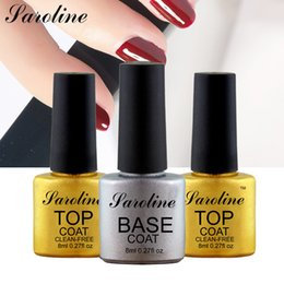 Wholesale Cuticle Oil Top Coat - Wholesale-Saroline High Quality Gel Polish Base Coat And Top Coat Nail Art UV Gel Cuticle Oil Varnish Soak Off Nail Gel Long Lasting