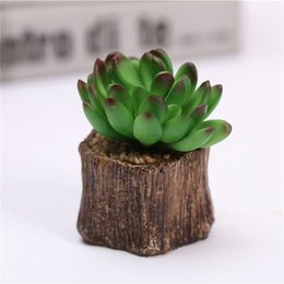 Wholesale craft resin statue - Artificial Succulent Plant Flower Pot Bonsai Figurines Statue Resin Craft Home Table Decoration Accessories Free Shipping ZA4042