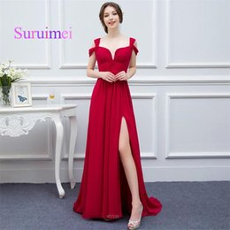 Wholesale Double Collar Zipper - Vintage Red Color Long Prom Dresses Double Straps Chiffon Side Split Gowns Evening Zipper Design Back Fast Shipping