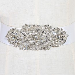 Wholesale Sequin Satin Belts - Gorgeous 2017 New Arrival Bridal Sash Wedding Belts With Crystals Belts Bride and Sashes Pearls Belt Cheap Ceinture bru CPA532