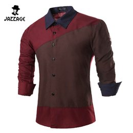 Wholesale Cheap Mens Fitted Dress Shirts - Wholesale- Men Shirt Long Sleeves 2016 Brand Shirts Men Casual Male Slim Fit Spell color Chemise Mens Camisas Dress Shirts Cheap clothes