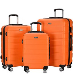 Wholesale Suitcases School - 3 Piece Lightweight Carry on Luggage Set wheel spinner Suitcase (20 + 24 + 28 inches) Travel Suitcase ABS School Rolling Trolley US Fedex