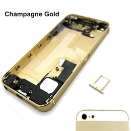 Wholesale Iphone Middle Frame Assembly - Full Housing Assembly Replacement for iPhone 5 5S Back Cover Middle Frame Metal Small Parts + Flex Cable+ Buttons
