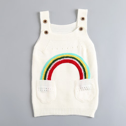 Wholesale Wholesale Clothing Sweaters - Children Rainbow Dresses Baby Girls Knitted Sweater Suspender Skirt Spring Autumn Kids Clothing Free DHL 435