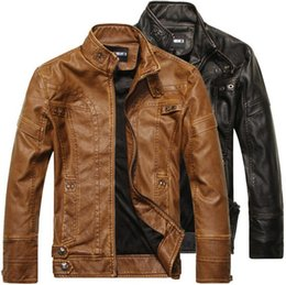 Wholesale Brown Denim Jacket For Men - Leather Jackets For Men Outdoor PU Fall Winter long Motorcycle Shell leather with Velvet denim Mens Jackets Outerwear