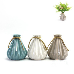 Wholesale Pe Bar - Modern flower pots planters garden decor ceramic pots home decoration wedding party bar decor folding surface ceramic vase