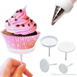 Wholesale Ice Cream Stands - 4PCS Cake Cupcake Stand Icing Cream Flower Nails Set Sugarcraft White DecorationTools ZH783