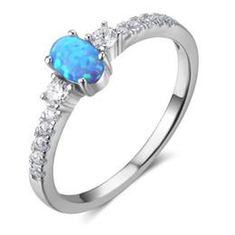 Wholesale Sterling Silver Ocean Jewelry - Women Jewelry 100% 925 Sterling Silver Rings Simulated Ocean Blue Opal Diamond Wedding Rings 5pcs a lot