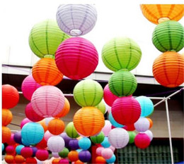 Wholesale Chinese Lantern Paper Yellow - 10Pcs 30cm Round Chinese Paper Lantern Birthday Paper Lanterns for Wedding Party Decoration Gift Craft DIY Wholesale Retail