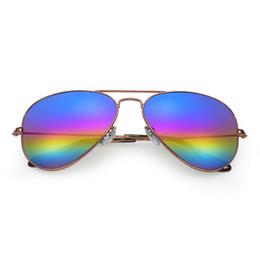 Wholesale Rainbow Framed Glasses - New Top quality Rainbow flash Glass lens Polit luxury Sunglasses 58mm sunglasses for men Designer sunglasses Vintage metal Sport Sun glass