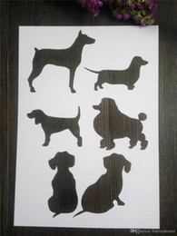 Wholesale Glass Painting For Children - Painting white friendly stencils children Masking template For Scrapbooking,cardmaking,DIY cards,wall- the dogs 069