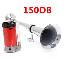Wholesale 12v Loud Air Horn - 150dB 12V Single Trumpet Air Horn Chrome Super Loud For Car Truck Lorry Boat Train All Types Autombiles AUP_50F