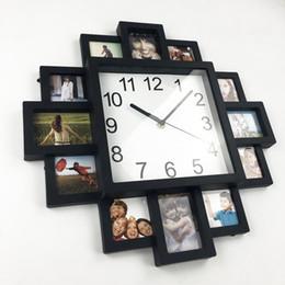 Wholesale Frame Wall Clock - frame 2017 New DIY Wall Modern Design DIY Photo Frame Plastic Art Pictures Clock Unique Klok Home Decor Horloge