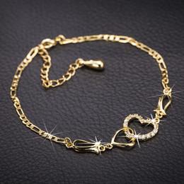 Bracelete de cristal encantador em ouro 18k banhado a ouro on-line-Charme Pulseiras Bangles 18 K Banhado A Ouro Amarelo Moda de Alta Qualidade CZ Cristal Do Coração Pulseira de Jóias de Casamento para As Meninas para As Mulheres