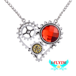 Wholesale Gear Love - Gear Heart shaped Pendant Necklace Retro Punk Jewelry Vintage Statement Party Accessories Creative Crystal Necklace Ancient Bronze Fashion