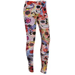 Wholesale Women Sexy Skull Leggings Wholesale - Wholesale- 2016 Punk Style Women Ankle Length Skeleton Skull Flower Legging Halloween Club Party Gifts For Female Sexy Leggings Clothes