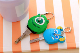 Wholesale Animal Key Cover Cap - 6 styles available Cartoon Anime Silicone Cute Yellow people&The panda Cover Key Cap Keychain KeyChain Key Ring holder