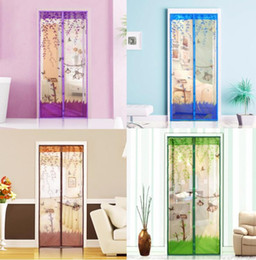 Wholesale Net Window Curtain - 1PC Durable Magnetic Mesh Screen Door Mosquito Net Sheer Curtains Protect Kitchen Window Organza Scree 90*210cm 100*210cm 4 Colors