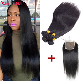 Wholesale 4x4 Lace Frontal - Wholesale Hair Extensions Straight Peruvian Brazilian Hair 3Bundles with 4x4 lace frontal closure Soft Remy Human Hair Weave Bundle Deals