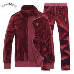 Homens de terno de veludo on-line-Atacado- SexeMara Casual Zipper Mens Sportwear Terno de lã de inverno com capuz de veludo homens com capuz treino Superm camisola masculino Plus Size 4XL