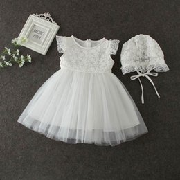 Wholesale Christening Gowns For Toddler Girls - Lace Birthday Dress For Baby Girl Summer Infant Toddler Thin Birthday Dresses With Hat Girls Clothing Christening Gowns E9678