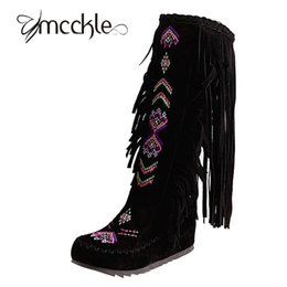 Wholesale Black Suede Fringe - Wholesale-Women's Knee High Fringe Boots Flock Leather Embroidery Bohemian Flat Boot 2016 Winter Fashion Women Shoes Big Size 43