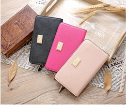 Wholesale New Women S Leather Wallet - 2017 New PINK South Korea Envelope Women 's Scrub leather long multi - card wallet wallet simple wallet card package
