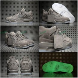 Wholesale Mens Gray Boots - 2017 Retro 4 Grey Suede KAWS x Mens Basketball Shoes retro 4 Cool Gray Jumpman luminous transparent Sneakers Sports shoes Size 41-47