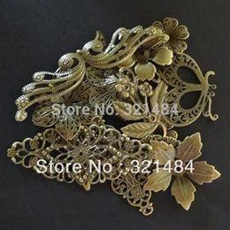 Wholesale Wholesale Bronze Filigree - 200piece mixed size and mixed shape Antique Bronze Filigree Wrap Flower Beads Jewelry DIY Findings Accessories