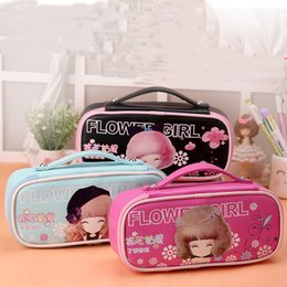 Wholesale Portable Office Case - girl Kawaii Lovely School Pencil Case Large Capacity PU Leather Portable Pencil Bag Case For Girls Christmas Gift Stationery Supplies