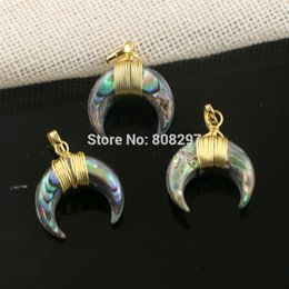 Wholesale Horn Shaped Pendants - Charm 10Pcs Gold Plated Ox Horn Shape Abalone Shell Pendant, Crescent Moon Shell Jewelry Gems Pendant