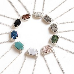 Wholesale Druzy Charms - Hot Kendra Scott Druzy Stone Necklace Various 10 Colors Silver Plated Geometry Gem Stone Necklaces Lady Women Fashion Jewelry