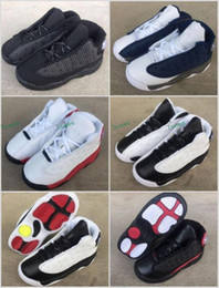 Wholesale Cat Bowl Black - Baby Boys New Retro 13 OG Black Cat Children KIDS Youth Basketball Shoes 3M Reflect 13s Black Cat Athletics Sports Sneakers EU22-27