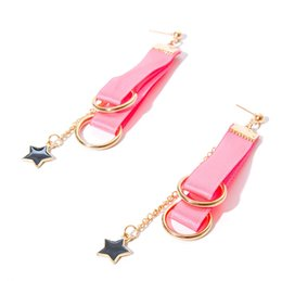 Wholesale jewelry designs gothic - Handmade Pink Dangle Earrings Star Design Trendy Ribbon Earring Women Accessories Gothic Jewelry Earrings For Women