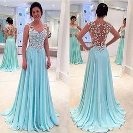 Hot Sweetheart Neck Prom Dresses Light Blue Una línea Ilusión Sexy Back Long gasa Vestidos de noche formales Vestidos de fiesta Vestidos formales desde fabricantes