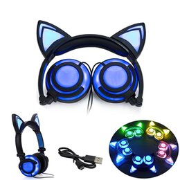 Wholesale Pink Laptops For Kids - Foldable Cat Ear headphones Gaming Headset Earphone with Glowing LED Light for Computer PC Laptop Cell phone gift for girls kids