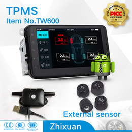 Wholesale Vw Android Dvd - hot sale tpms factory car tyre pressure monitoring system with 4external sensors USB connect android 4.0 car DVD navigation test tire states