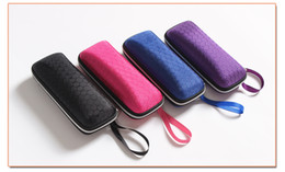 Wholesale Wholesale Crushed Glass - EVA pressure-proof sunglasses case 4 color zipper crush resistance small glasses Protection box set package portable with lanyard