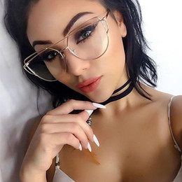 Deutschland Großhandels- 2017 Fashion Classic Frauen Cat Eye Brille Übergroße optische klare Linse Legierung Full Frame Gläser Damen transparente Gläser cheap clear lens oversized glasses wholesale Versorgung