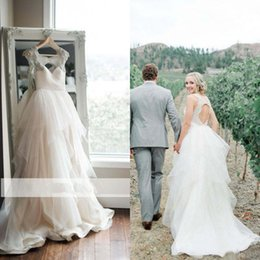 Wholesale Graceful Plus Size Wedding Dress - Graceful 2017 Tulle Scoop Wedding Dresses Cheap Beaded Cut Out Back Tiered Long Bridal Gowns Custom Made China Plus Size EN6064