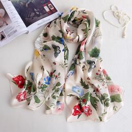 Wholesale White Silk Scarfs - 180*70cm Morning Glory Print Lady Mulberry Silk Big Rectangle Scarf Printed 100% Pure Silk Pashmina Shawl Wraps Fashion Hijabs Capes