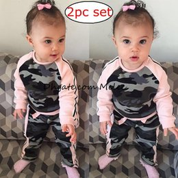 Wholesale Wholesale For Kids T Shirts - NEW Spring kids Girls camouflage Pink t-shirt top tees + girls camo pants shorts two-piece sprots sets for girls free shipping