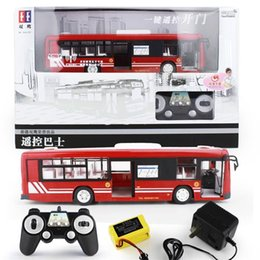 Wholesale Remote Control Bus Toys - 2.4GHz Remote Control Bus Toy Open Door Electric RC Bus Rechargeable Car Model Boy Children Gift With Realistic Sound