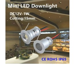Wholesale Downlight Out - 9pcs round mini led spotlight 1W LED downlight DC12V unput 30D 120D ceiling spotlights with 15mm cut out furniture light