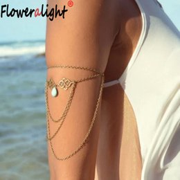 Wholesale Upper Arm Bracelets For Women - Wholesale- Floweralight Boho Hollow Pendant Upper Arm Cuff Chains Armlet Water Drops Tassel Bracelet Bangle for Women Beach Jewelry