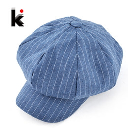 Wholesale Newsboy Hats Wholesale For Men - Wholesale-2016 Autumn and winter newsboy caps womens fashion plaid casual hat octagonal cap cotton and linen mixing beret hats for women