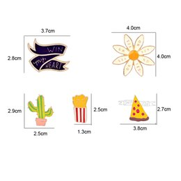 Wholesale Sew Rhinestones Patches - Cartoon Cactus win my heart sunflower piza Fruit Patch Computer Embroidery Badges Can Be Hand Sewing Ironing Sticker On Cloth Garment 170801